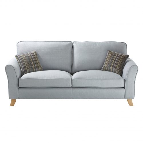 duck egg blue three person sofa front shot