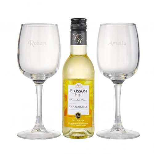 personalised engraved wine glasses with bottle on a white background