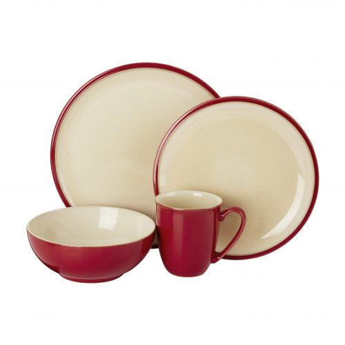 red plate bowl cup and saucer set